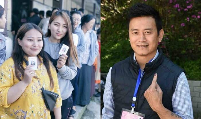 Women at polling station in Gangtok and Baichung Bhutia