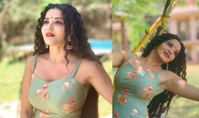 Bhojpuri Bomb Monalisa Looks Sensuous Hot in Sexy Spaghetti Style Suit as She Poses on The Sets of Nazar