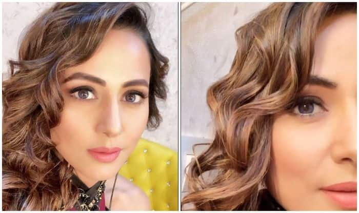 Hina Khan Looks Sexy in Maroon Halter Neck Dress With Curly Hair in Her Latest Picture
