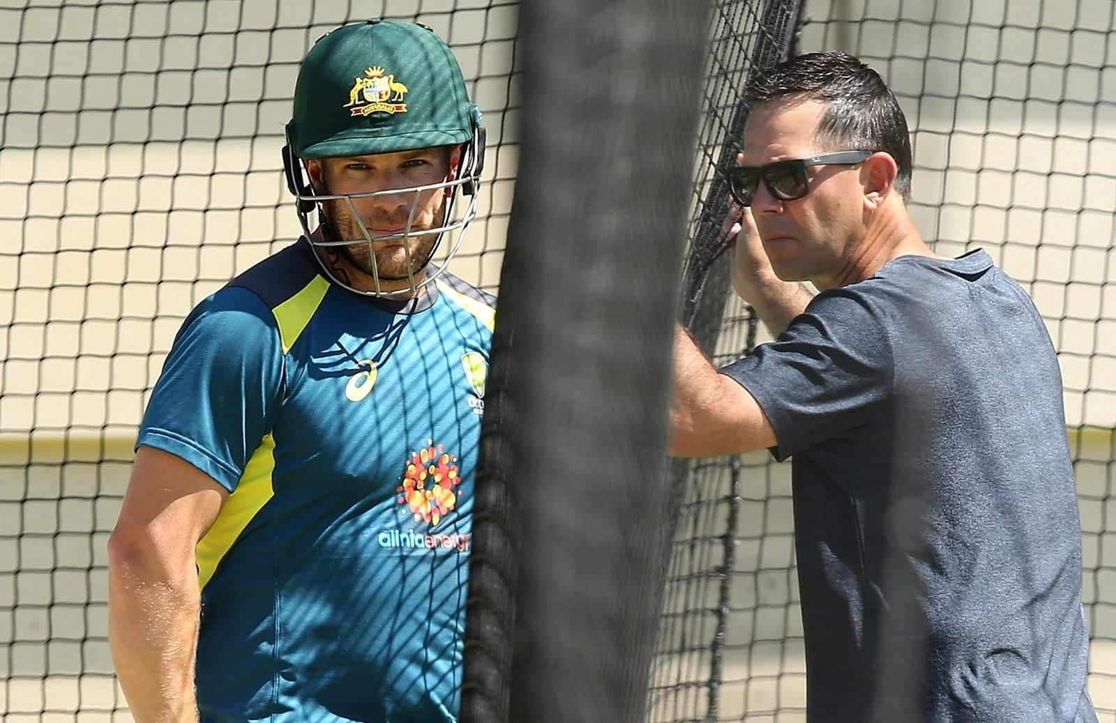 Finch and Ponting at the practice nets. Image Source: Cricket Australia.