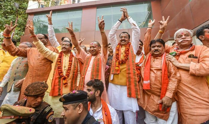 BJP leaders celebrating at headquarters in Lucknow. Photo Courtesy: PTI
