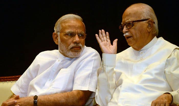 Narendra Modi with LK Advani. Photo Courtesy: Getty Images