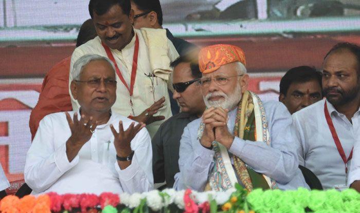 Bihar CM Nitish Kumar with PM Narendra Modi. Photo Courtesy: IANS