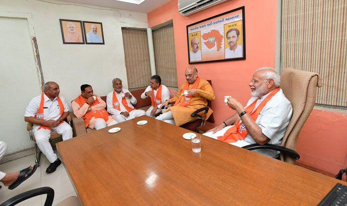Narendra Modi at BJP headquarters in Ahmedabad. Photo Courtesy: IANS