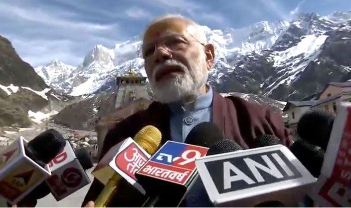 PM Narendra Modi addressing the media at Kedarnath. Photo Courtesy: IANS