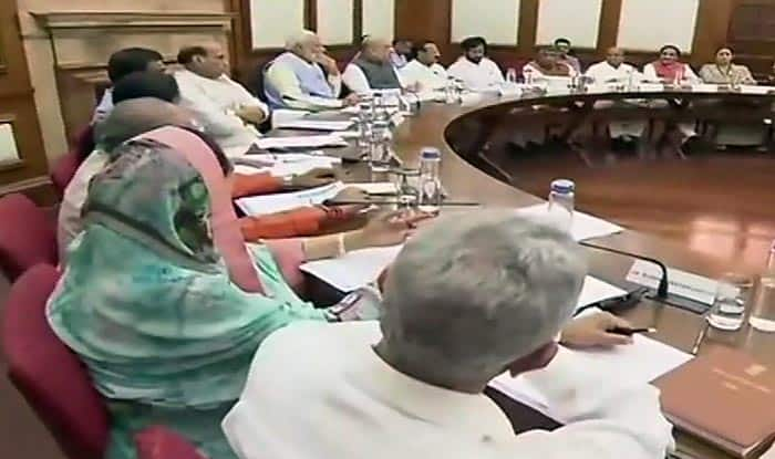 PM Modi chairs the cabinet meeting.