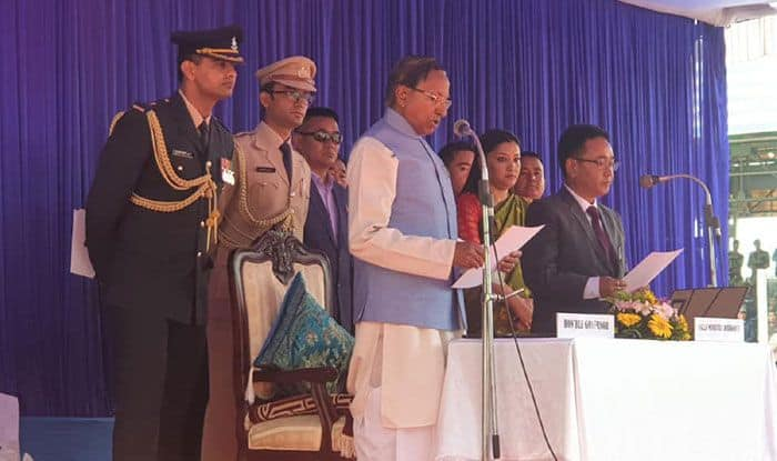 Sikkim CM Prem Singh Tamang being sworn in. Photo Courtesy: IANS