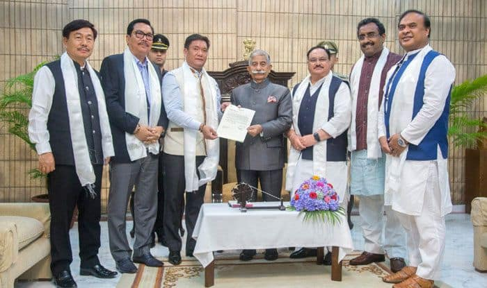 Arunachal Pradesh CM Pema Khandu meets Governor BD Mishra. Photo Courtesy: IANS
