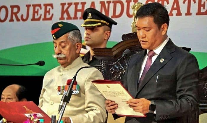 Pema Khandu takes oath as Arunachal Pradesh CM. Photo Courtesy: PTI
