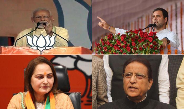 Top: Narendra Modi, Rahul Gandhi. Bottom: Jaya Prada, Azam Khan