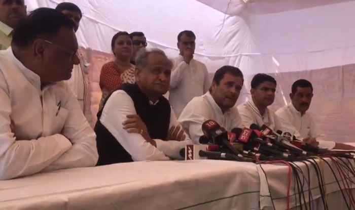 Ashok Gehlot and Rahul Gandhi in Jaipur. Photo Courtesy: IANS