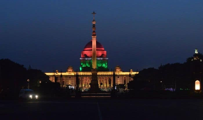 Rashtrapati Bhavan illuminated on eve of Narendra Modi's swearing-in ceremony. Photo Courtesy: IANS