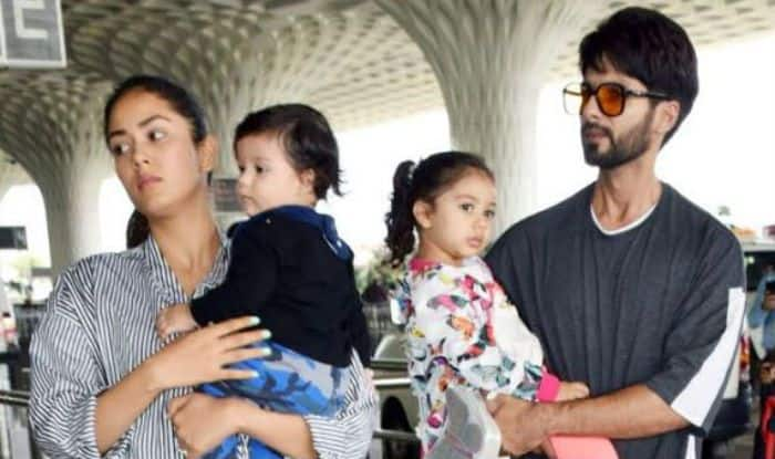 Shahid Kapoor, Mira Rajput with Misha and Zain at Mumbai Airport