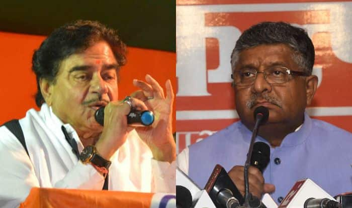 Shatrughan Sinha and Ravi Shankar Prasad. Photo Courtesy: IANS