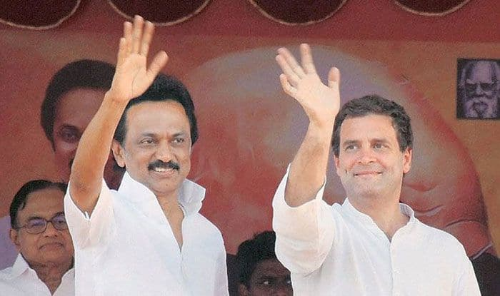DMK chief MK Stalin with Congress chief Rahul Gandhi. Photo Courtesy: IANS