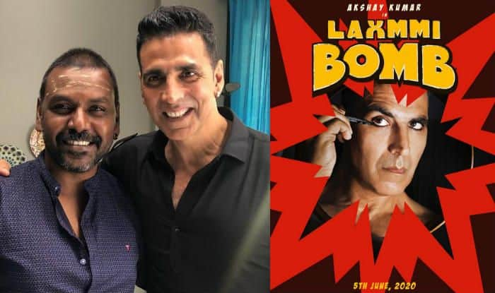 Akshay Kumar and Raghava Lawrence, Poster of Laxmmi Bomb (Photo Courtesy: Twitter/ @offl_Lawrence, @akshaykumar)