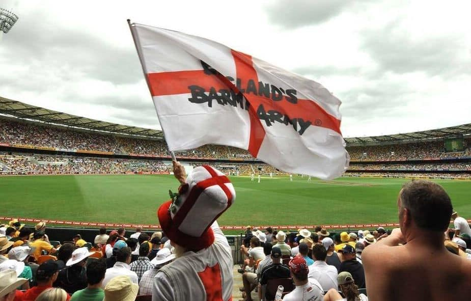 The Barmy Army brigade in a match between Australia and England. Image Source: Barmy Army.