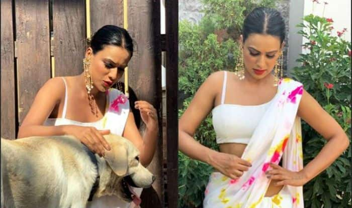Nia Sharma Looks Sizzling Hot in White Saree With Floral Prints in Sun-kissed Pictures