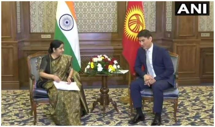 External Affairs Minister Sushma Swaraj Meets Kyrgyz Counterpart For SCO Talks