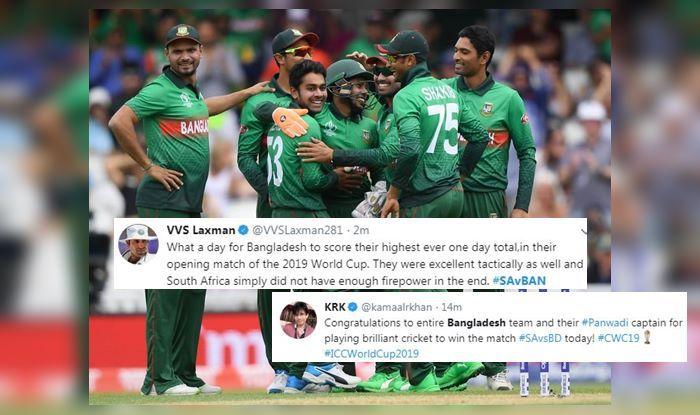 Bangladesh beat South Africa, Bangladesh Cricket Team,Twitter reactions, South Africa Cricket Team,SA vs Ban, Ban v SA,ICC World Cup 2019,ICC Cricket World Cup 2019, Cricket News, South Africa trolled, VVS Laxman, KRK,