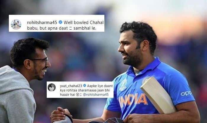 Rohit Sharma-Yuzvendra Chahal Engage in Playful Banter Ahead of Team India's ICC World Cup 2019 Clash Against Unbeaten Australia, Indian Cricket Team