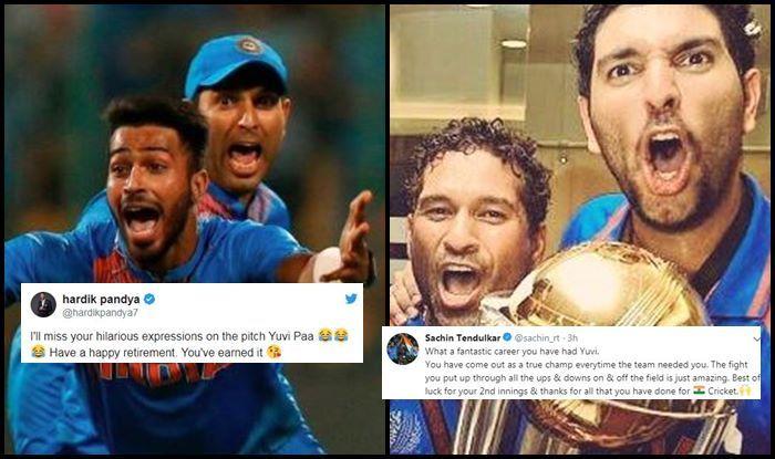 Yuvraj Singh, Sachin Tendulkar, Hardik Pandya, Virat Kohli, Yuvraj Singh retires, Yuvraj singh retirement, yuvi retirement, yuvraj singh retirement from international cricket, cancer, cancer treatment, cancer survivor, twitter, fans react, twitter react, ICC Cricket World Cup 2019, ICC World Cup 2019, Cricket Fans, Vijender Singh