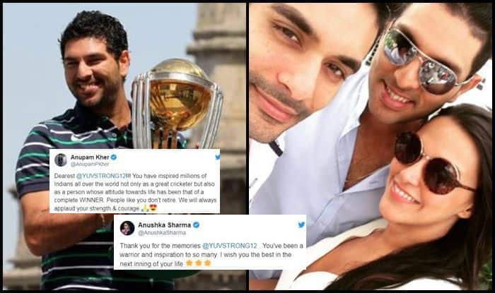 Yuvraj Singh, Anushka Sharma, Bollywood, Abhishek Bachchan, Suniel Shetty, Angad Bedi, Neha Dhupia, Varun Dhawan, Sonu Sood, Yuvraj Singh retires, Yuvraj singh retirement, yuvi retirement, yuvraj singh retirement from international cricket, cancer, cancer treatment, cancer survivor, twitter, fans react, twitter react, Cricket Fans,