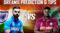 Dream11 Team India vs West Indies ICC Cricket World Cup 2019 – Cricket Prediction Tips For Today's World Cup Match IND vs WI at Emirates Old Trafford, Manchester