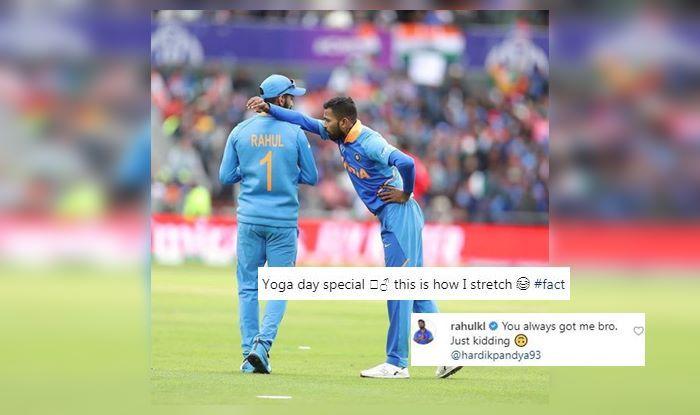 KL Rahul, KL Rahul trolls Hardik Pandya, Hardik Pandya, India vs Afghanistan, ICC Cricket World Cup 2019, ICC World Cup 2019, Southampton, Rose Bowl, Cricket News, Koffee With Karan, International Yoga Day 2019, Yoga Day 2019, Yoga