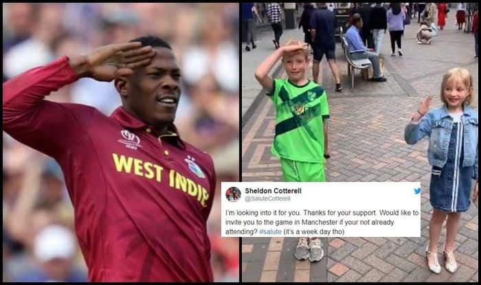 Sheldon Cottrell, Sheldon Cottrell salute, Sheldon Cottrell gesture, Sheldon Cottrell wickets, India vs West Indies, Ind vs WI, ICC Cricket World Cup 2019, ICC World Cup 2019, Cricket News, Manchester, Old Trafford
