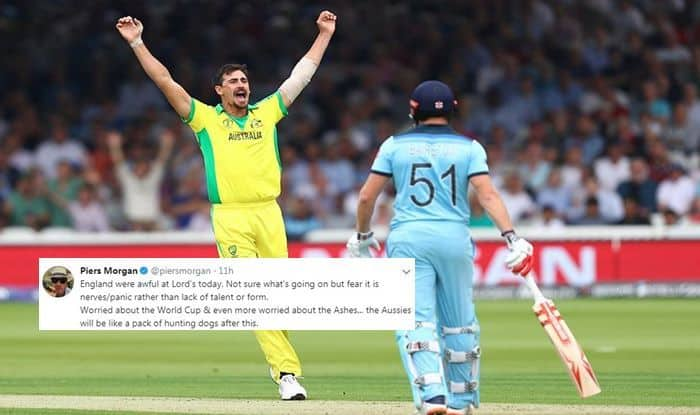 Australia vs England, Piers Morgan trolls England, England vs Australia, England trolled, England trolled with memes, GIFs, Australia beat England by 64 runs, Eng vs Aus, ICC Cricket World Cup 2019, ICC World Cup 2019, Cricket News, Lords, Queensland Police, England semi-final chance, England Cricket Team