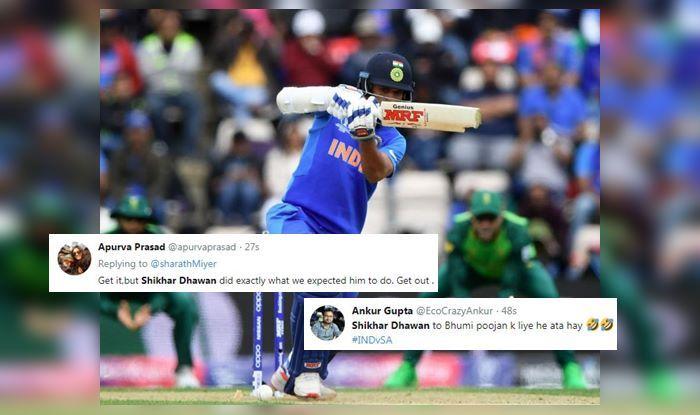 Shikhar Dhawan,Shikhar Dhawan trolled,Shikhar Dhawan fails, Indian Cricket Team, Ind vs SA, SA vs Ind, ICC Cricket World Cup 2019, ICC World Cup 2019, Cricket News