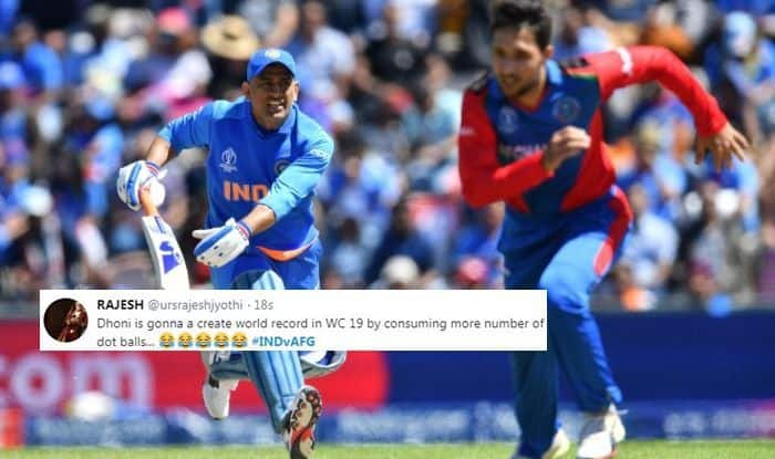 MS Dhoni, MS Dhoni trolled, India vs Afghanistan, India slow batting, Team India Memes, Ind vs Afg, ICC Cricket World Cup 2019, ICC World Cup 2019, Southampton, Rose Bowl, Cricket News, Rashid Khan