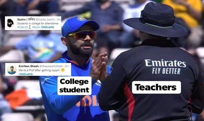 Virat Kohli trolled, DRS, India vs Afghanistan, Virat Kohli, Team India Memes, Ind vs Afg, ICC Cricket World Cup 2019, ICC World Cup 2019, Southampton, Rose Bowl, Cricket News, Rashid Khan, India loses DRS