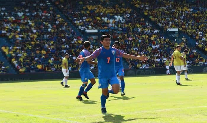 Anirudh Thapa, Thapa celebrates after scoring, King's Cup, India vs Thailand, King's Cup Football tournament, Football News, Sunil Chhetri, India Men's Football Team