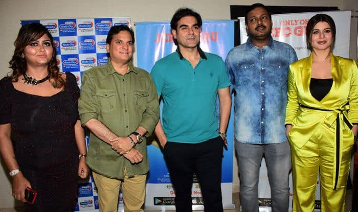Actor Arbaaz Khan and Kainaat Arora at the launch of Jeeoguru app. Photo Courtesy: IANS