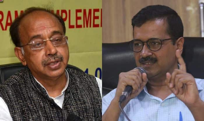 BJP's Vijay Goel and AAP's Arvind Kejriwal. Photo Courtesy: IANS