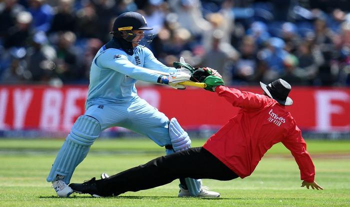 Jason Roy, Roy knocks over umpire, World Cup 2019, Joel Wilson, England vs Bangladesh, ICC World Cup 2019, Jason Roy Hundred, Jason Roy World Cup, Eoin Morgan, Ben Stokes, Cricket News, England Cricket Team