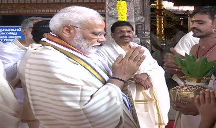 Narendra Modi in Kerala: PM Offers Prayers at Guruvayur Temple in Thrissur Ahead of His First Bilateral Visit to Maldives, Sri Lanka