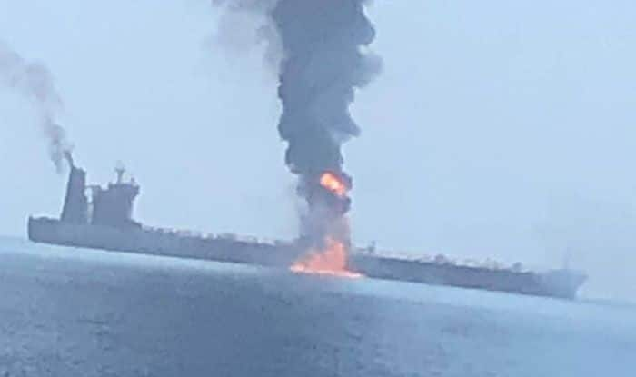 Oil tanker hit in suspected attack in Gulf of Oman. Photo Courtesy: IANS