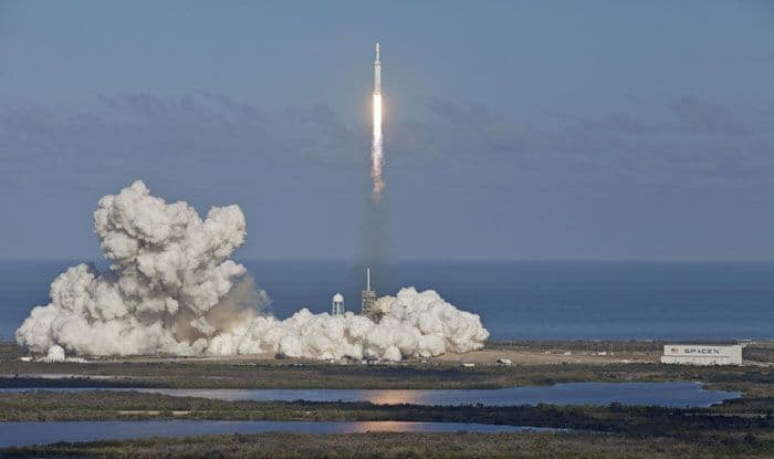 SpaceX Falcon Heavy rocket lifts off from Florida's Kennedy Space Center. Photo Courtesy: IANS