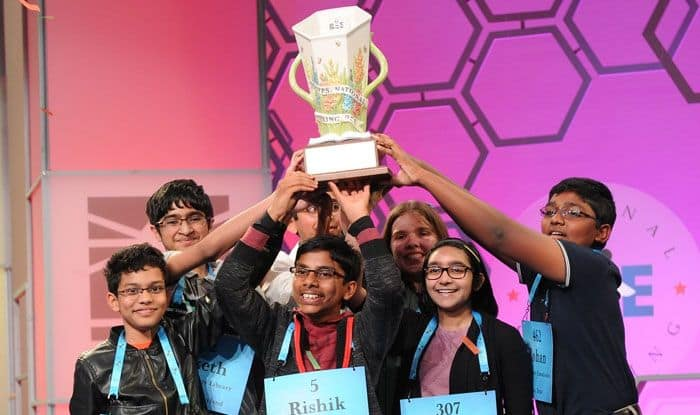 The 8 co-champions of the US 2019 National Spelling Bee competition. Photo Courtesy: IANS