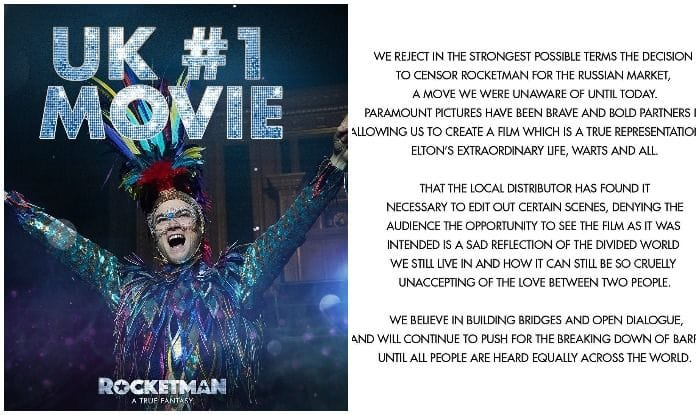 Elton John Slams Censorship of Gay Scenes in His Biopic Rocketman, Refuses to 'Comply With Russian Law'