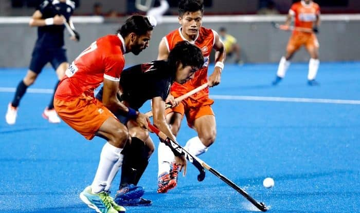 Snapshots of the India vs Japan men's hockey practice match at the Kalinga Hockey Stadium ahead of their FIH Series Finals campaign.