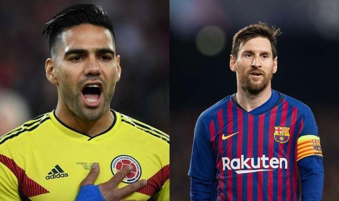 Radamel Falcao and Lionel Messi
