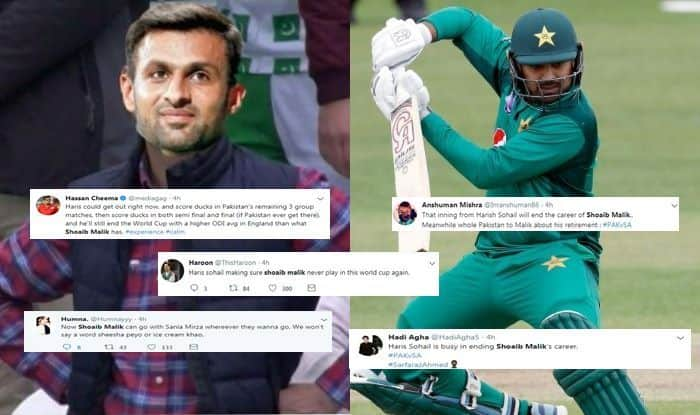 Pakistani fans troll Shoaib Malik, Shoaib Malik trolled, Shoaib Malik trolled for Haris Sohail, Fans Troll Shoaib Malik after Sohail Batting, Pakistan vs South Africa, PAK vs SA, Haris Sohail batting, Haris Sohail batting against South Africa,