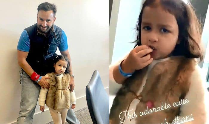 Viral: Saif Ali Khan Gets Clicked With Ziva Dhoni After Mahendra Singh Dhoni's Daughter Poses For a 'Biscuit' Video at India vs Pakistan World Cup 2019 Match