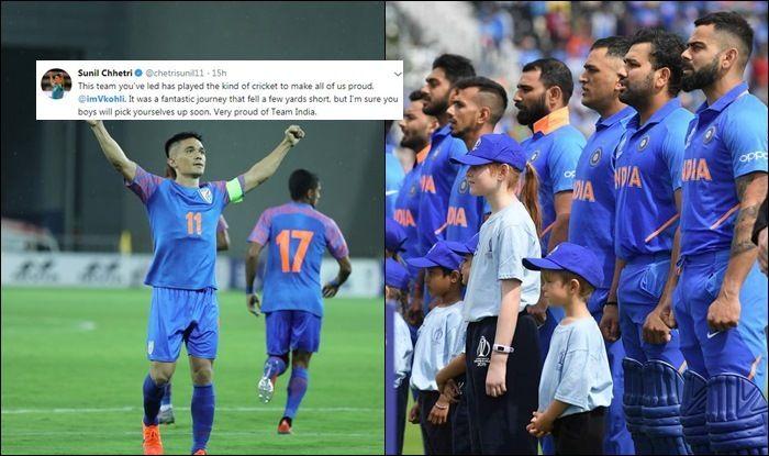 Sunil Chhetri lauds Virat Kohli & Co, Sunil Chhetri praises Indian team, Team India, India football captain Sunil Chhetri, India vs New Zealand Semi-Final 1, Ind vs NZ, Cricket News, 2019 ICC CWC, Manchester, Old Trafford, Indian Cricket Team
