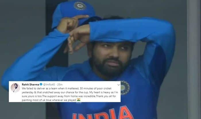 Rohit Sharma, Rohit Sharma feels 30 minutes snatched it away from India, New Zealand beat India by 18 runs to enter finals, India vs New Zealand Semi-Final 2, IND v NZL, Manchester, Old Trafford, ICC Cricket World Cup 2019, ICC World Cup 2019, ICC CWC 2019, Cricket News