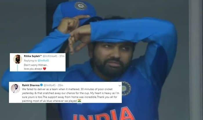Rohit Sharma, Rohit Sharma feels 30 minutes snatched it away from India, Ritika Sajdeh reaction, New Zealand beat India by 18 runs to enter finals, Rohit Sharma records, Rohit Sharma centuries, Rohit Sharma most runs, India vs New Zealand Semi-Final 2, IND v NZL, Manchester, Old Trafford, Hitman, ICC Cricket World Cup 2019, ICC World Cup 2019, ICC CWC 2019, Cricket News